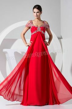 A Line Applique Short Sleeves Red Prom Dress