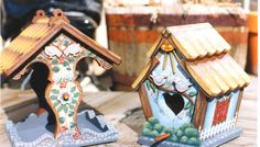 Tole Painted Miniture Houses | ... House and two from the Bird House collection. We do not have painting