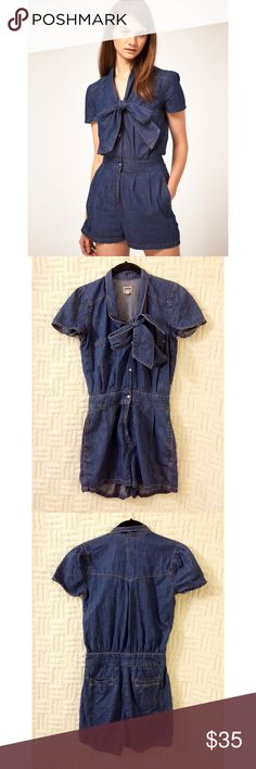 ASOS Denim Romper ASOS denim romper with bow.  US size 2.  Zipper fly and snap closure buttons on top portion.  Preowned.  No trades / modeling.  {closet3} ASOS Pants Jumpsuits & Rompers