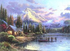 Thomas Kinkade Loon Lake Cross Stitch Pattern***L@@K*** ~~**I WILL SEND WORLD-WIDE Free**~~