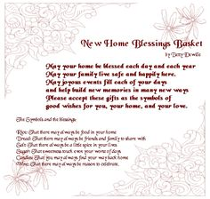 How to make a house-warming home blessings basket with symbolic gifts to celebrate a move to a new home. Housewarming Quotes, Housewarming Basket, Housewarming Party, Home Poem, Verses For Cards, Expensive Gifts, Life Quotes To Live By, Wine Gifts, New Home Gifts