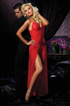 Rode lange sensuele sexy nachtkleding van kant en doorzichtige stof, Shirley of Hollywood, Corsetno9