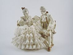 Dresden Beautiful White Porcelain Couple Courting by MSMUnlimited