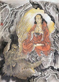 The temptation of Shaka Niorai by Kawanabe Kyosai Japanese Buddhism, Tibetan Buddhism, Japanese Drawings, Japanese Artists, Korean Art, Asian Art, Tibet Art, Hokusai, Traditional Japanese Art