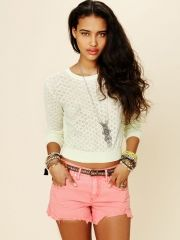 Free People Pointelle Pullover - Pale Lime M - $49.95