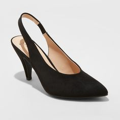 90811ddbcc26 Women s Nettie Wide Width Microsuede Sling Back High Vamp Heeled Pumps - A New  Day Black