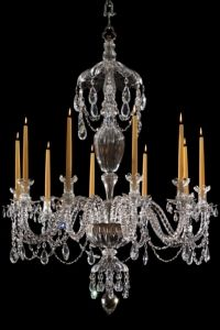 Gdansk ChandelierA replica of the 10 light moulded crystal chandelier made for the Historical Museum of Gdansk in Poland. A Georgian style chandelier made in English lead crystal. Displayed with wax candles can be wired for electric. H 122cm W 92cm Reference cs1872