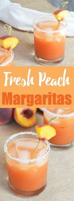 Fresh Peach Margaritas from Living Loving Paleo! paleo and gluten-free, the perfect cocktail to celebrate the flavors of summer! Party Drinks, Cocktail Drinks, Fun Drinks, Yummy Drinks, Healthy Drinks, Cocktail Recipes, Summer Cocktails, Healthy Food, Bourbon Drinks