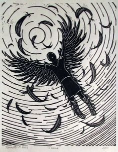 Artist unknown.   This painting adds a little more context to the circumstances of Icarus' death. A lot of other artwork just shows Icarus falling or in the water, but what this one does differently is show the feathers that have melted off, causing Icarus to fall.