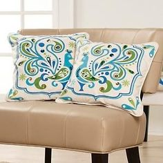 Pillows - Happy Chic by Jonathan Adler Set of 2 Peacock Pillows at HSN.com - peacock pillows