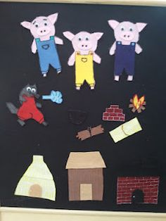 Three Little Pig pieces for Felt Board....make into a felt book and give as a gift.