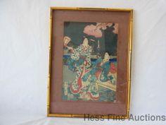 Early Mid 1800s Japanese Ukiyo e Oban Woodblock Print Japanese Garden 2 Geishas