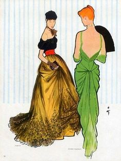 """BALMAIN 1947 - A casa sempre teve o look que mulheres poderiam vestir no seu dia a dia de forma luxuosa. Aqui, as sketchs trazem a silhueta do """"new look"""" de Christian Dior que influenciou o pós II Guerra Mundial."""
