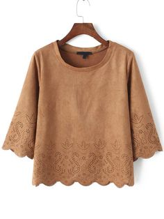 Khaki Round Neck Hollow Scalloped Crop Top , High Quality Guarantee with Low Price!