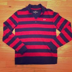 Vineyard Vines rugby stripe pullover  Vineyard Vines rugby stripe pullover in red and navy.  This is a boys size large, however it fits my size 0 daughter. Ribbed cuffs and hem. Vineyard Vines Tops