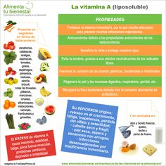 Esta #infografia recoge las propiedades de la #Vitamina A, los alimentos en los que la encontramos y más. #alimentatubienestar