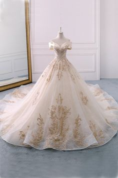 Gorgeous Off the Shoulder Ball Gown Wedding Dress, Long Appliques Bridal Dress N. Gorgeous Off the Shoulder Ball Gown Wedding Dress, Long Appliques Bridal Dress - Sweetheart Wedding Dress, Long Wedding Dresses, Bridal Dresses, Prom Dresses, Wedding Ball Gowns, Dress Wedding, Winter Wedding Dress Ballgown, Champagne Quinceanera Dresses, Tulle Wedding