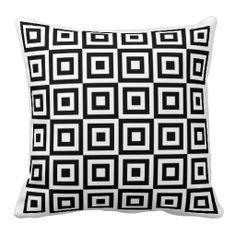 """Retro Black & White Squares Throw Pillow 20"""" x 20"""""""