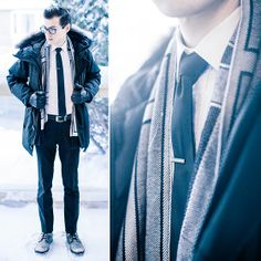 Canada Goose Parka, Indochino White Shirt, Kenneth Cole Boots