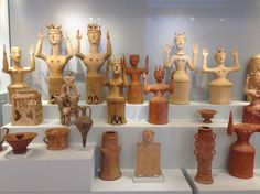 "These Minoan ""Goddesses"" with Upraised Arms (MGUA) are clay, wheel made statuettes that were found in small, bench shrines of refuge settlements of the Late Minoan IIIC period (c. 12th century BCE), founded following the collapse of the Mycenaean palaces. Crete.  Photo: Courtesy of Professor Louise Hitchcock."