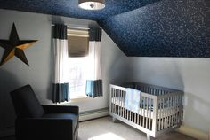 industrial nursery with a hint of rocketships and robots Sky Nursery, Outer Space Nursery, Nursery Room, Girl Nursery, Kids Bedroom, Bedroom Ideas, Bedroom Decor, Star Themed Nursery, Nursery Themes