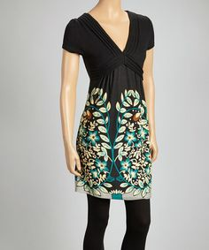 Take a look at this Black & Teal V-Neck Dress by Papillon Imports on #zulily today!