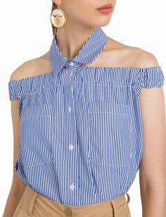 Pixie Market Nina Striped Collar Top - M