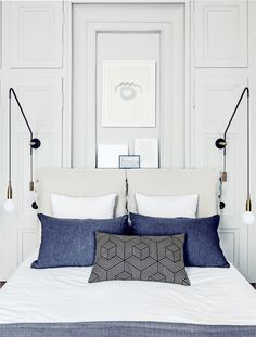Modern bedroom décor ideas | White, blue and grey home décor accents | Photo by Felix Forest via Vogue Living au ♥ visit www.wishtank.co.za for more home décor ideas and inspiration