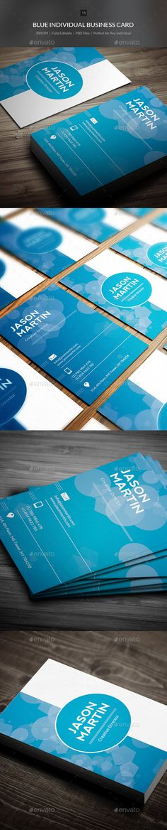 Blue Individual Business Card Template PSD | #businesscard #businesscardtemplate…