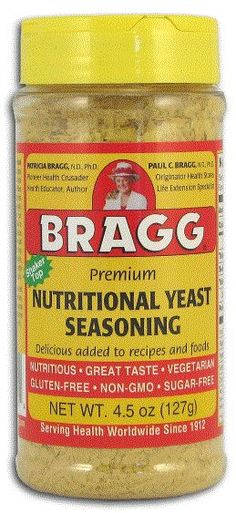 I just discovered Nutritional Yeast and am anxious to pick it up.  GF, dairy free, cheesy taste for vegans and great source of B12 and folic acid!  I have a recipe I want to try with it!  The Benefits of  Nutritional Yeast + 10 Ways to Use it
