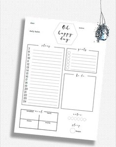 Daily Planner PRINTABLE // day organizer // A4 daily planner // chic student planner // druckbarer Tagesplaner // Tagesplanung druck
