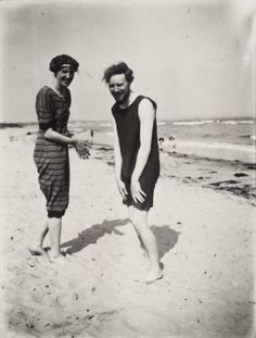 Virginia Woolf and Clive Bell on the beach at Studland Bay, Dorset