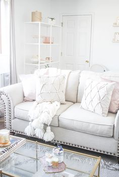 Neutral Living Room | Blush and Cream Living Room | New York City apartment | Small apartment decor ideas | Home Decor