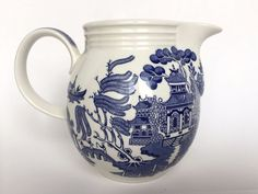 Churchill Blue Willow Milk Pitcher Jug Vintage English Pottery  #Churchill