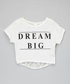American Kids White Dream Big Lace-Back Crop Top - Girls | zulily
