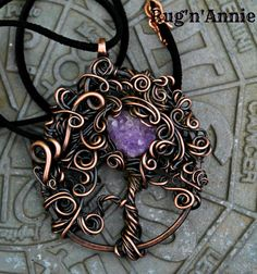 Copper tree with Amethyst Druzy Moon.  Amethyst is from local, from Nova Scotia. :) by Mary Anne Harvey