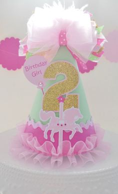 Lil' Carousel Horse Birthday Party Hat - Circus - Mint Green, Pink and Glitter Gold - Personalized