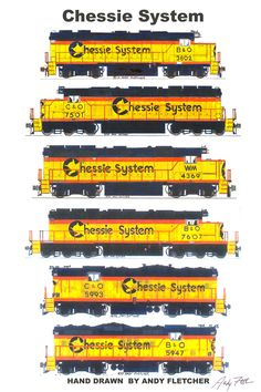 Chessie System Locomotives Poster by Andy Fletcher signed Rail Train, Train Art, Baltimore And Ohio Railroad, Train Drawing, Old Steam Train, Train Posters, Railroad Pictures, Maryland, Train Pictures