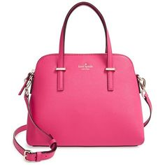 Women's kate spade new york 'cedar street - maise' satchel ($270) ❤ liked on Polyvore featuring bags, handbags, purses, pink handbags, leather satchel purse, leather purse, pink leather handbag and pink purse
