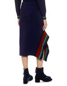 Tibi | Jacquard Neoprene Asymmetrical Stripe Midi Skirt in Navy Multi | Midi - IFCHIC