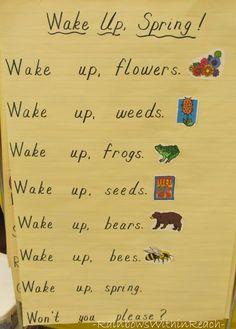 Spring Art & Crafts, Bulletin Boards and Poems photo of: Anchor chart for spring, spring poem for kindergarten, spring time poem for children Preschool Poems, Kids Poems, Spring Preschool Songs, Kindergarten Poetry, Kindergarten Rocks, Kindergarten Classroom, Kindergarten Activities, Classroom Ideas, Time Poem