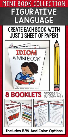 I love that each book can be created with JUST 1 sheet of paper and NO glue or staples! Teaching Activities, Language Activities, Teaching Resources, Teaching Ideas, Reading Task Cards, Guided Reading, Reading Comprehension Passages, Reading Strategies, Figurative Language Activity