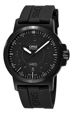 Oris Men's 73576414764RS BC3 Sportsman Day Date Black DLC Case and Rubber Strap Watch