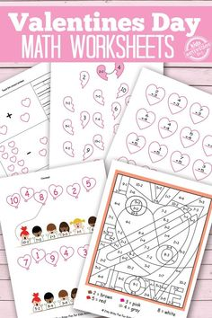 Valentines Day Math Worksheets {Free Kids Printables} - Another! Kids Math Worksheets, Printable Activities For Kids, Valentines Day Activities, Holiday Activities, Math Activities, Free Printables, Preschool Learning, Preschool Ideas, Fun Learning