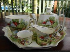 Royal Winton Grimwades Red Roof Breakfast Set Teapot Tea Cup Jug Tray Toast Jam