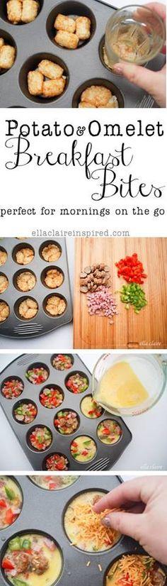 Potato & Omelet Breakfast Bites  ~Frisky   http://www.ellaclaireinspired.com/2013/09/delicious-omelet-and-potato-breakfast.html