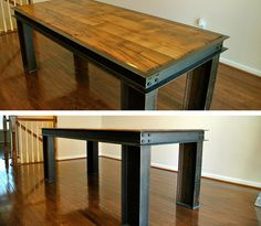 Reclaimed I Beam Wood and Steel Table by AmericanOutpostShop