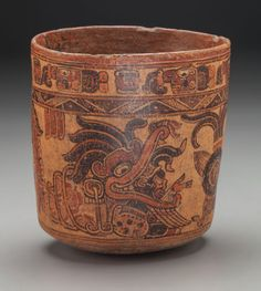 Rare Elaborate Ulua Valley Maya Vase with Extravagant Images -  c. 600 - 900 AD, Honduras -   This beautiful vase is in the Ulua Valley Maya Late Classic style with extremely ornate images, some possibly relating to Popol Vuh story telling and combined with regional tribal ceremony.