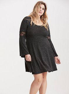 165e84dfbad Plus Size Lace Inset Hacci Knit Skater Dress