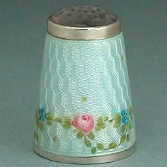 FAB Antique Enameled Roses Stone Top Sterling Silver Thimble * by Meyle & Mayer